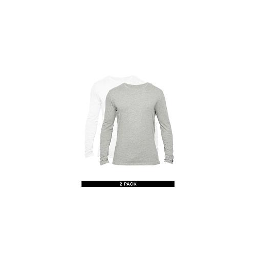 Selected 2 Pack Long Sleeve Top Regular Fit Grey/White - Multi