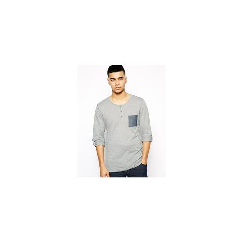 Solid Long Sleeve Grandad Top With Pocket - Grey