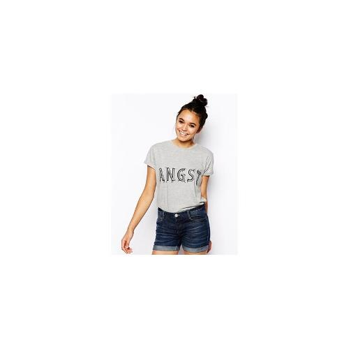 ASOS Boyfriend T-Shirt with Angst Embroidered Print - Grey marl