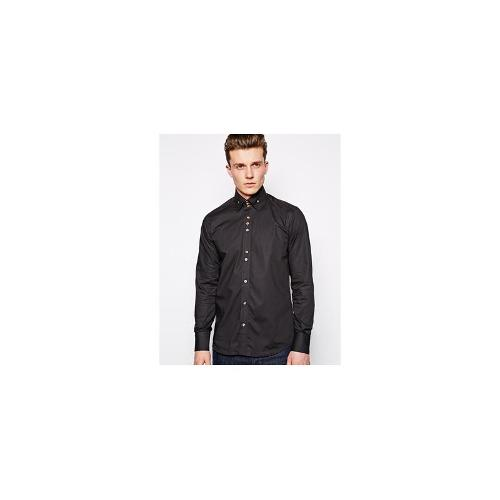 Guide London Shirt With Button In Collar - Black