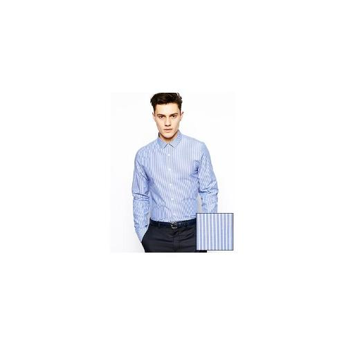 ASOS Shirt With Bold Stripe And Long Sleeves - Navy
