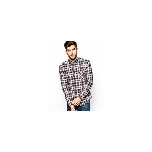 Selected Check Shirt - Off white/navy