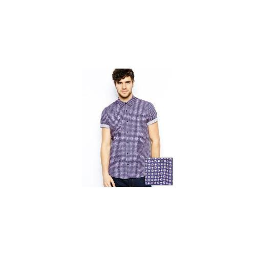 ASOS Shirt In Short Sleeve With Navy Red Foulard