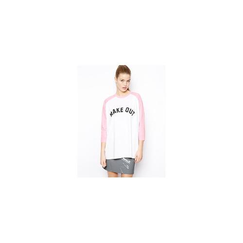 ASOS Oversized Baseball Top with Make Out Print - Pink/white