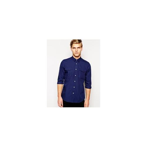 ASOS Military Shirt In Long Sleeve - Navy