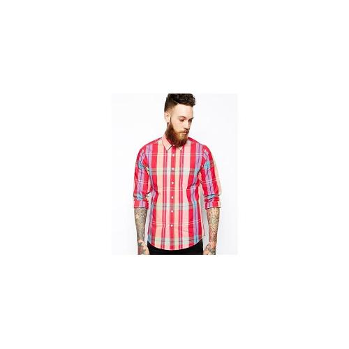 ASOS Shirt In Long Sleeve With Pink Madras Check - Pink