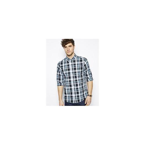 ASOS Shirt In Long Sleeve With Black Mid Check - Black