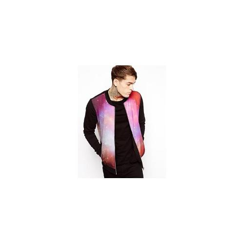 ASOS Bomber With Sateen Front And Space Print - Black