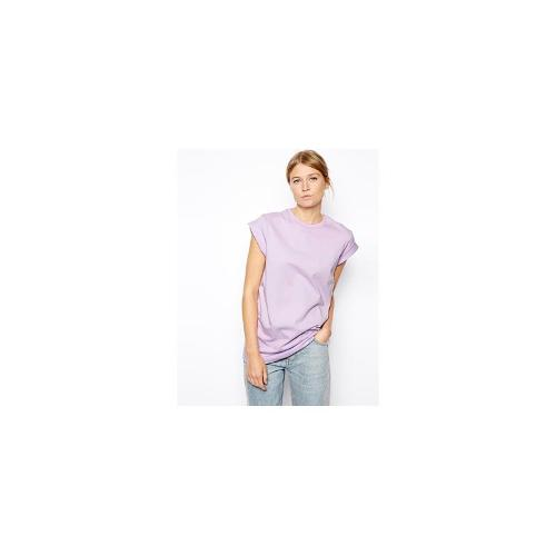 ASOS Boyfriend T-Shirt with Roll Sleeve - Lovely lilac