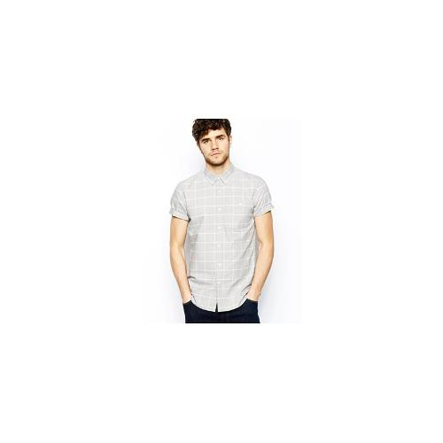 ASOS Oxford Shirt In Short Sleeve With Grid Check - Grey