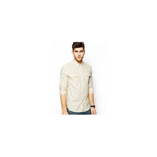 ASOS Military Shirt In Long Sleeve - Stone