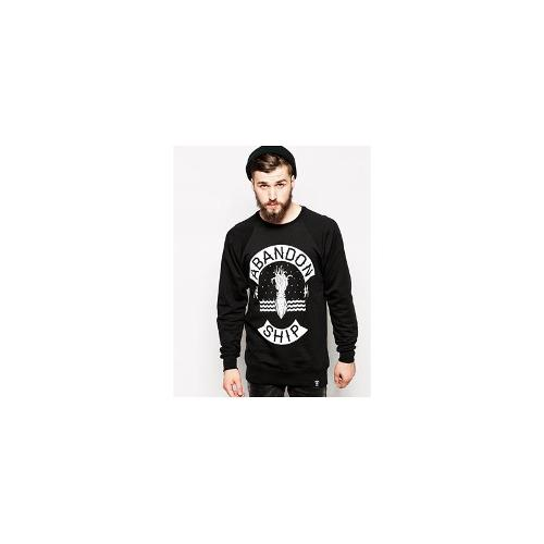 Abandon Ship Sweatshirt with Squid Print - Black
