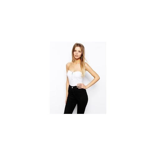 ASOS Bandeau Body With Zip Front - White
