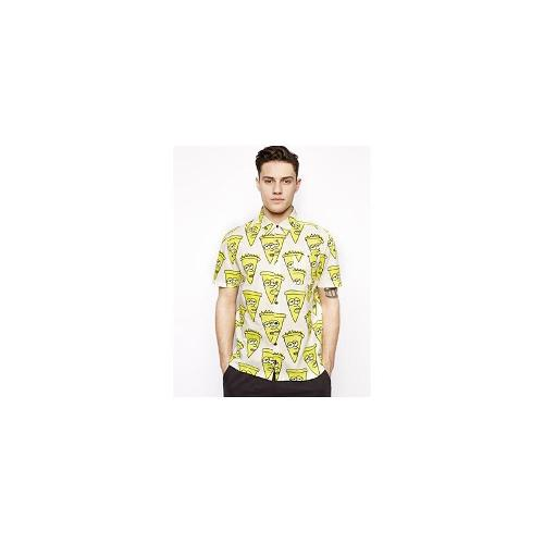 Lazy Oaf Short Sleeve Shirt in Stuffed Crust Print - Yellow