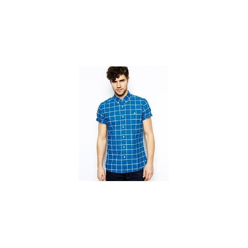 ASOS Oxford Shirt In Short Sleeve With Grid Check - Navy