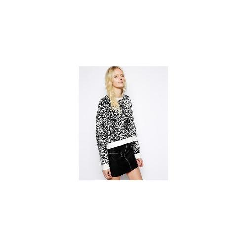 Just Female Leopard Print Sweat Shirt - Black