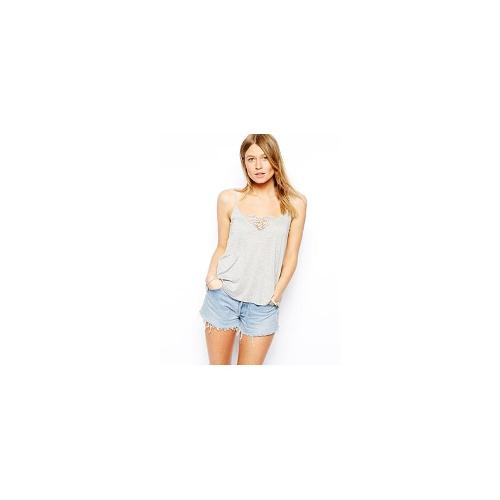 ASOS Cami Top with Lace Inserts - Grey marl