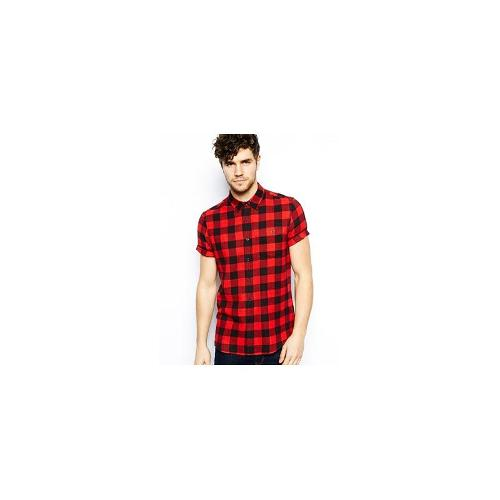 ASOS Shirt In Short Sleeve With Buffalo Check - Red