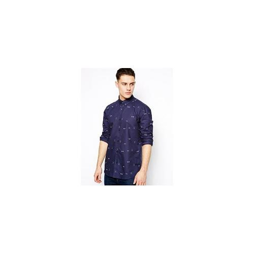 Selected Shirt With Print - Navy