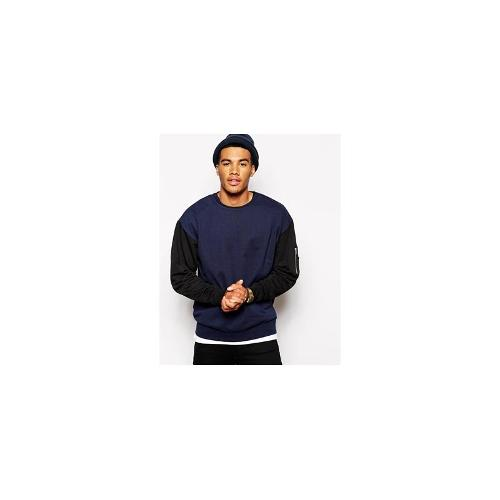 ASOS Oversized Sweatshirt With MA1 Pocket - Navy