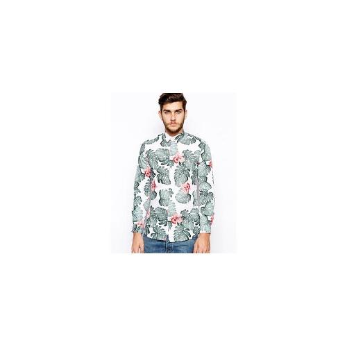 Selected Shirt With Leaf Print - White