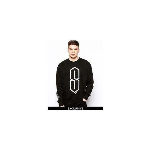 SONS Exclusive Sweatshirt with S School Print and Reflective Logo - Black