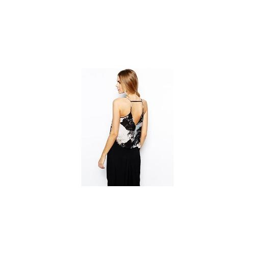 Aryn K Printed Silk Cami with Cut Out Back