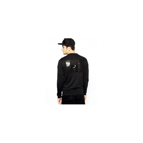 ASOS Bomber In Jersey With Flag Print - Black