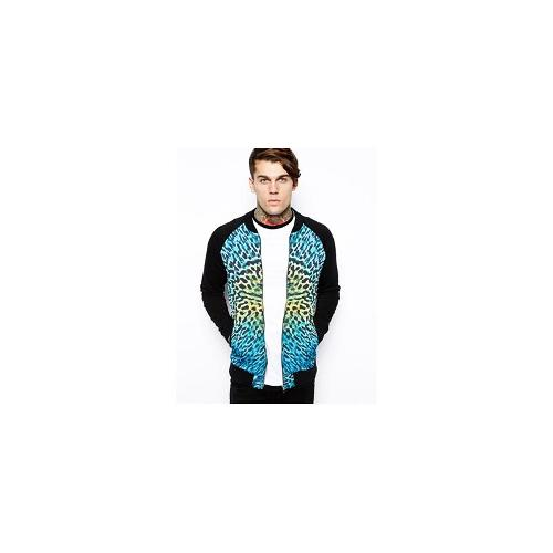 ASOS Bomber In Jersey With Animal Print Sateen Front Panel - Black