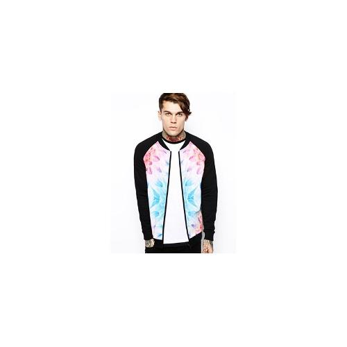 ASOS Bomber In Jersey With Quilted Front And Print - Black