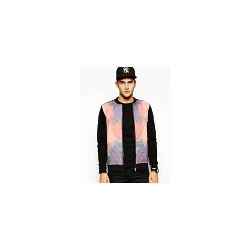 ASOS Bomber In Jersey With Print Quilted Front - Black