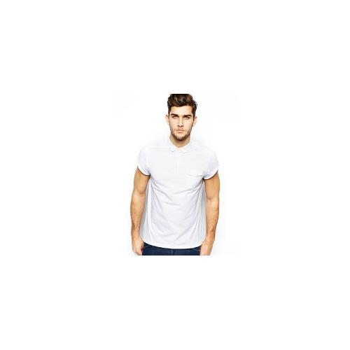ASOS Polo With Roll Sleeve And Pocket - White