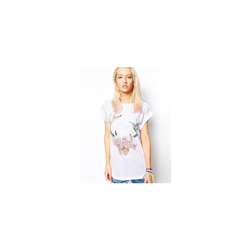 ASOS Boyfriend T-Shirt with Floral Antlers