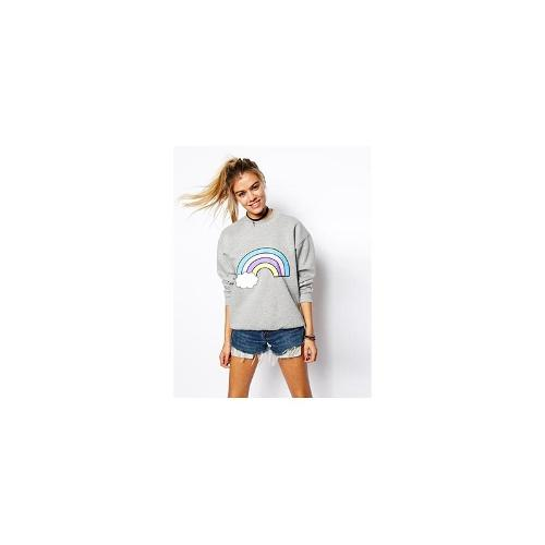 ASOS Boyfriend Sweatshirt with Rainbow Print