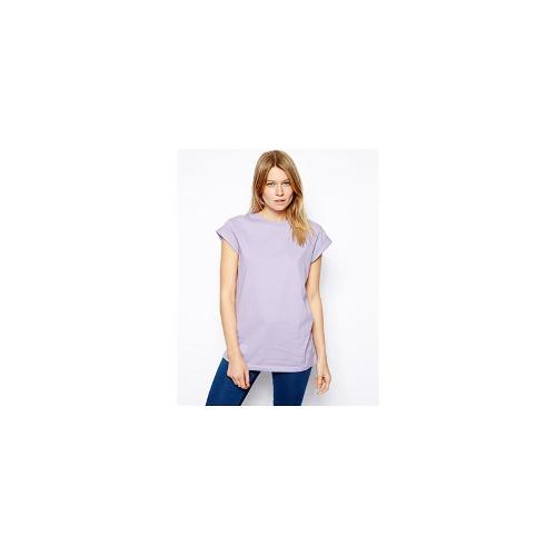 ASOS Boyfriend T-Shirt with Roll Sleeve - Lavender