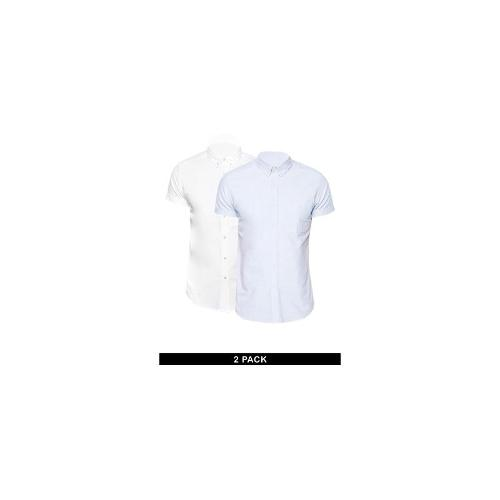 ASOS Oxford Shirt 2 Pack In Short Sleeve White/Blue SAVE 11%