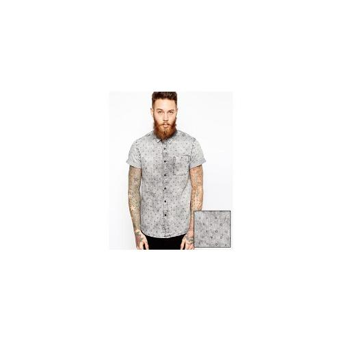 ASOS Acid Wash Denim Shirt In Short Sleeve With Icon Print
