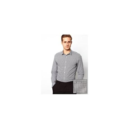 ASOS Smart Shirt in Long Sleeve with Gingham Check Jacquard