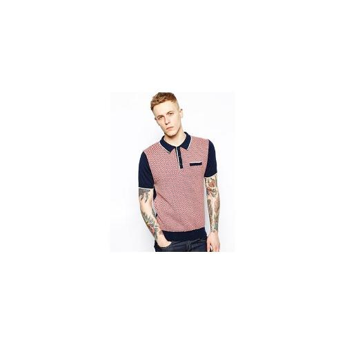 Merc Knit Polo with Checkerboard Front