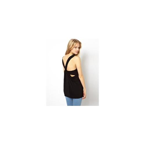 ASOS Cami Top with Drapey Twist Back - Black