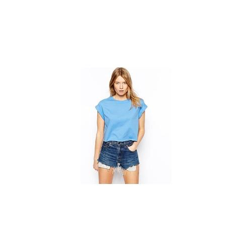 ASOS Cropped Boyfriend T-Shirt with Roll Sleeve - Blue