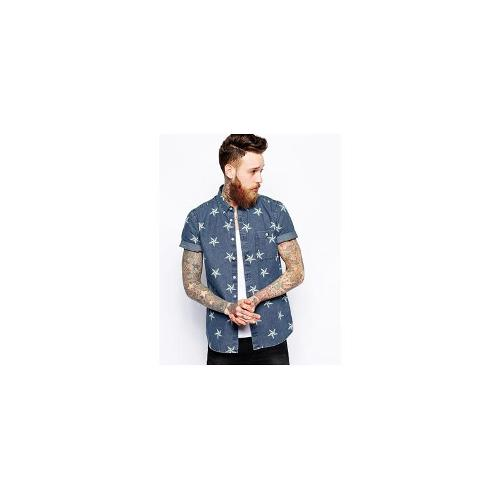 ASOS Denim Shirt In Short Sleeve With Star Print
