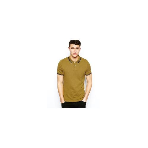 ASOS Polo In Overdyed Marl With Tipped Collar - Mustard