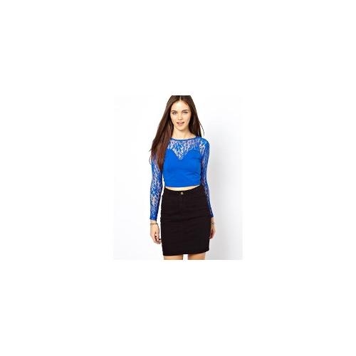 Glamorous Lace Crop Top - Lace elektric blue