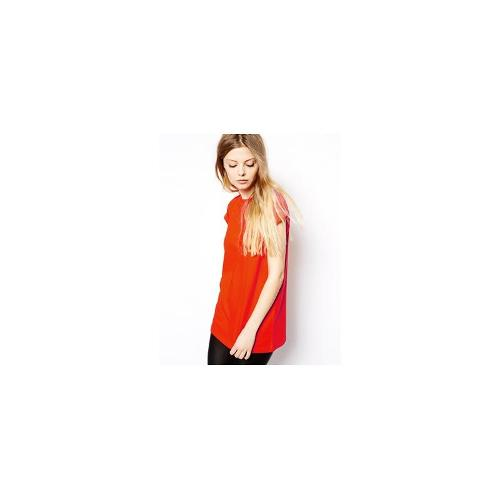 ASOS Boyfriend T-Shirt with Roll Sleeve - Wow red