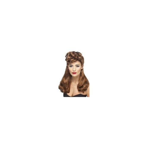 New Adults Womens 40's Wartime Vinatge Wig Smiffys Costume Accessory - Auburn