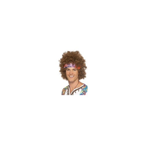 New Adults Mens 60's Hippy Afro Smiffys Fancy Dress Costume Accessory - Brown