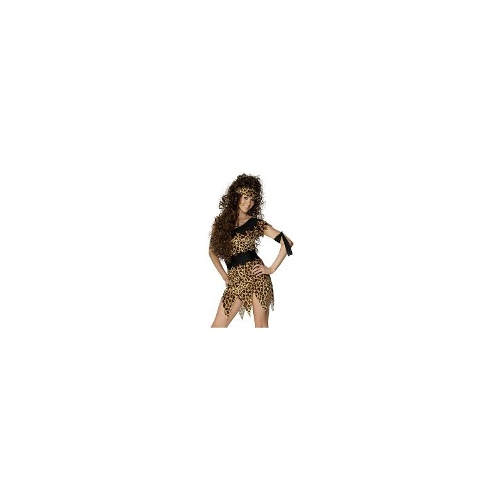 Womens Leopard Print Cavewoman Fancy Dress Costume - XL