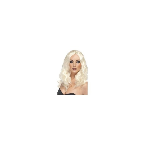 New Adults Womens Superstar Long Blonde Smiffys Fancy Dress Costume Wig
