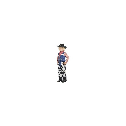 Child Boys Ropin Cowboy Costume Kids Denim & Cowskin Smiffys Fancy Dress - XS